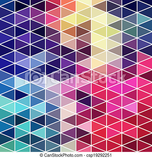 Triangles pattern of geometric shapes. Colorful mosaic backdrop. Geometric hipster retro background, place your text on the top of it. Retro triangle background. Backdrop - csp19292251