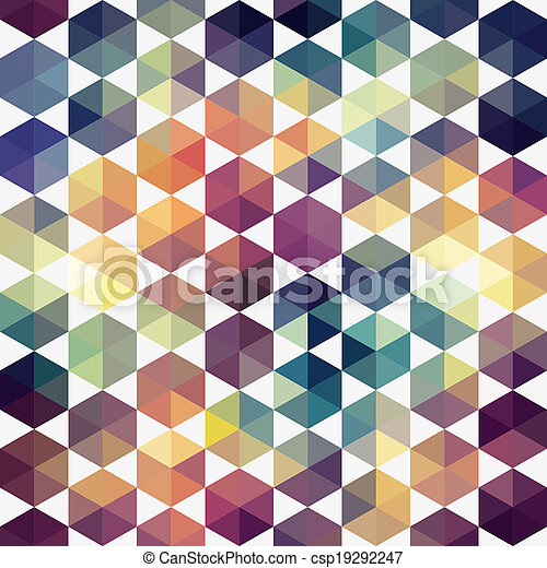 Triangles pattern of geometric shapes. Colorful mosaic backdrop. Geometric hipster retro background, place your text on the top of it. Retro triangle background. Backdrop - csp19292247