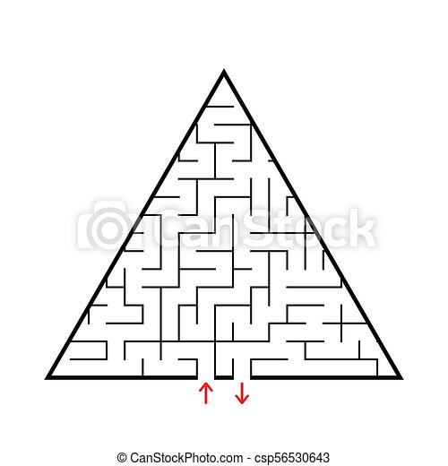Triangular Labyrinth With An Input And Exit Simple Flat Vector Illustration Isolated On White