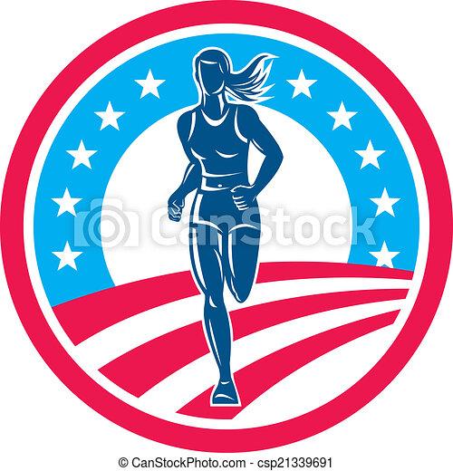 triathlete, corredor, norteamericano, hembra, círculo, maratón - csp21339691