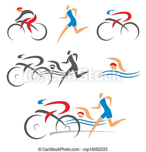 triathlon, フィットネス, サイクリング, アイコン - csp16052333