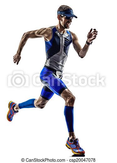 Man Triathlon Eisenmann Sportler laufen - csp20047078