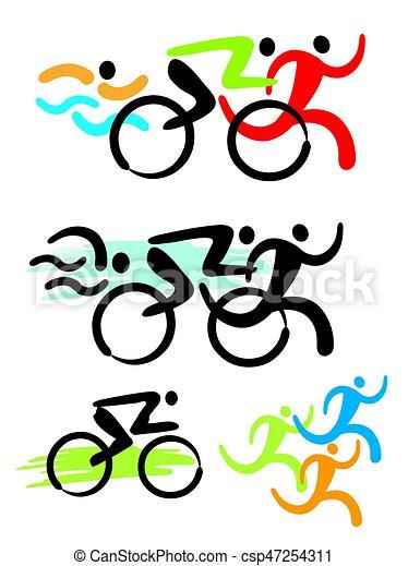 triathlon competitors icons stylized colorful illustration rh canstockphoto com triathlon clip art free triathlon symbols clip art