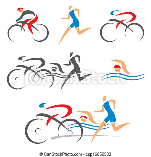 Triathlon cycling fitness icons - csp16052333