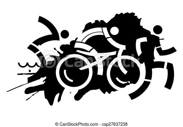 triathlon grunge motive three icons symbolizing triathlon rh canstockphoto com triathlon images clipart free triathlon images clipart free