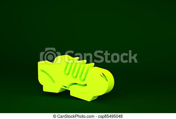 triathlon, icône, 3d, sport, render, shoes., isolé, illustration, jaune, vélo, chaussures, concept., chaussures, minimalisme, cyclisme, vert, arrière-plan. - csp85495048
