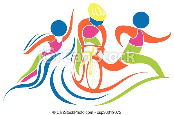 Triathlon icon in colors - csp38019072