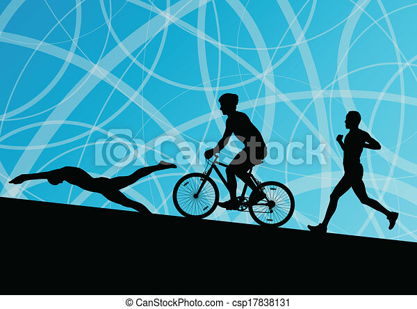 Triathlon marathon active young men swimming cycling and running sport silhouettes collection vector abstract background illustration - csp17838131