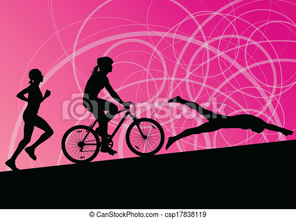 Triathlon marathon active young women swimming cycling and running sport silhouettes collection vector abstract background illustration - csp17838119