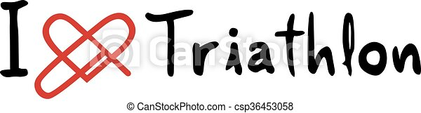 triathlon, miłość, ikona - csp36453058