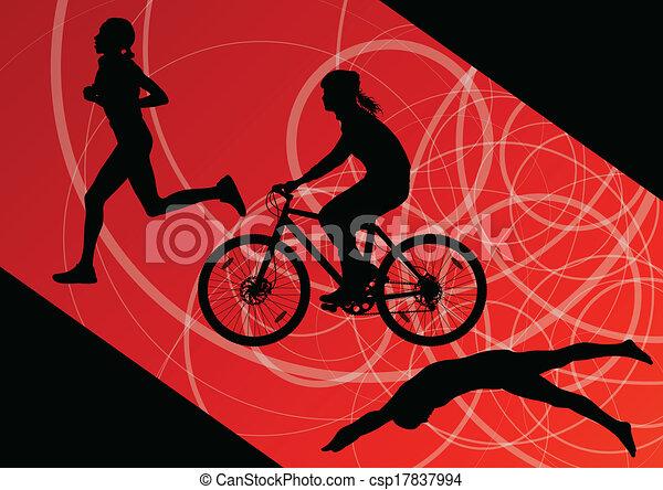 triathlon, natação, ciclismo, abstratos, jovem, cobrança, executando, vetorial, ilustração, fundo, ativo, silhuetas, desporto, maratona, mulheres - csp17837994