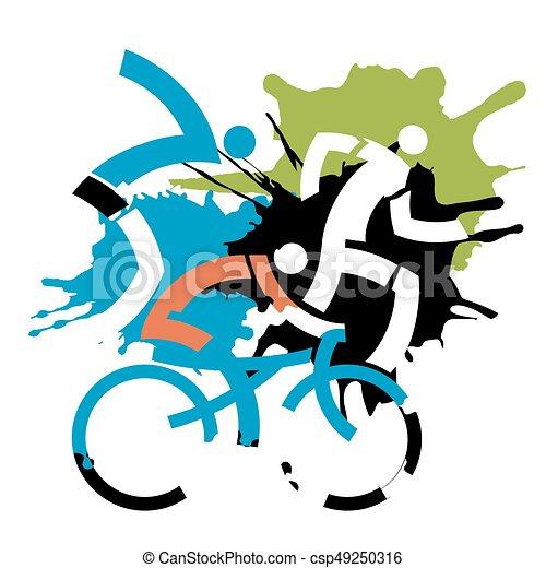 triathlon racers grunge stylized three triathlon abstract stylized rh canstockphoto com distressed background clipart