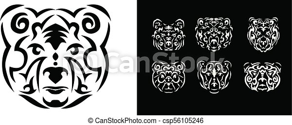 Tribal Bear Illustration Tribal Bear Set Illustration Brown Bear