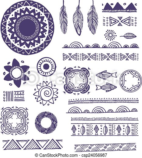 Tribal, Bohemian Mandala background with round ornaments, patterns and elements - csp24056987
