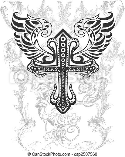tribal cross with wing illustration - csp2507560
