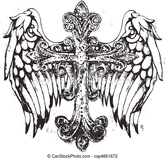 tribal cross with wing - csp4661672