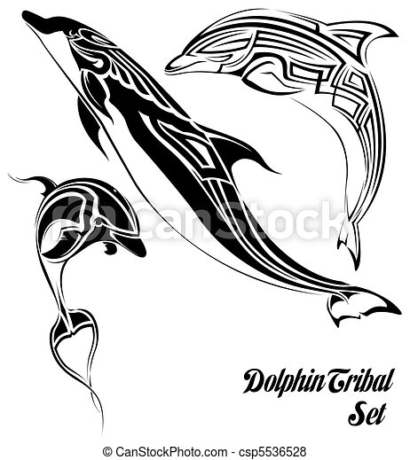 tribal, dauphin, ensemble - csp5536528