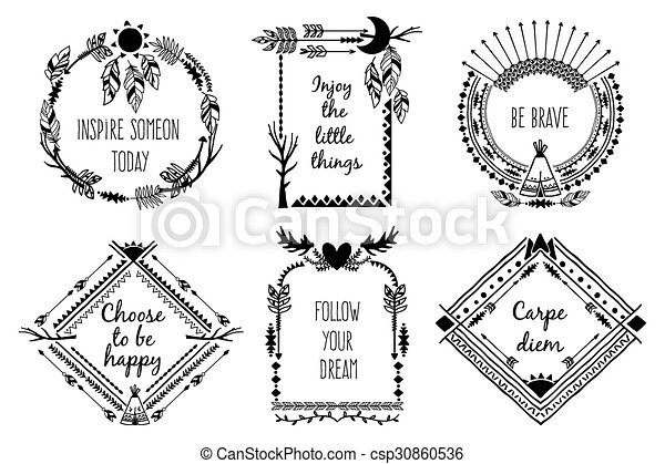 Tribal design frames with text. element decoration, antlers and ...