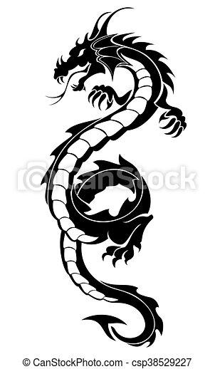 tribal dragon tattoo black tribal dragon tattoo vector