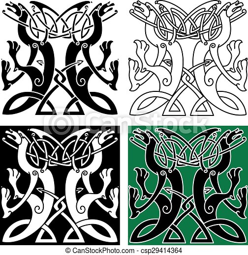 Tribal Dragons Ornament With Celtic Knot Pattern