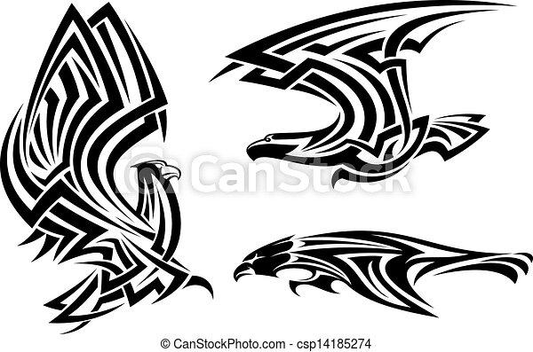 fb2b2c854 Tribal eagle, hawk and falcon set for tattoo or heraldry design.