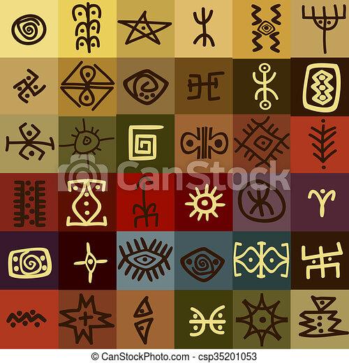 Tribal Ethnic Symbols Background Tribal Ethnic Symbols Stock