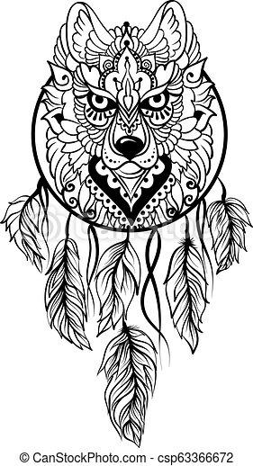 Tribal Ethnique Loup Stile Dreamcatcher
