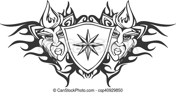 Tribal flame tattoo template with a star. Symmetric tribal flame ...