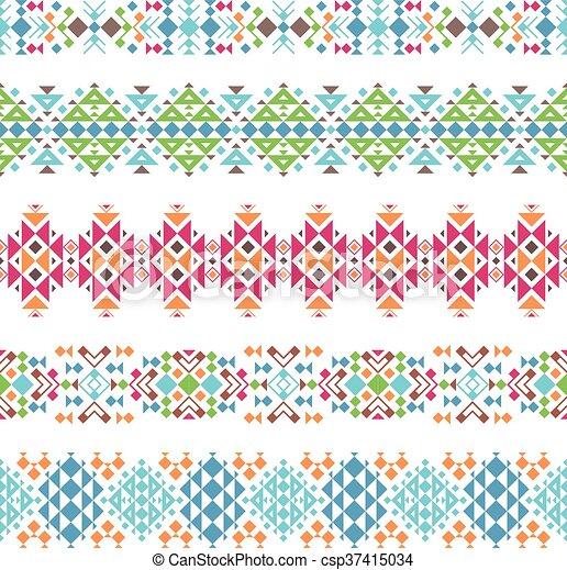 Tribal, fronteras, azteca, étnico. Coloreado, tribal, ilustración ...