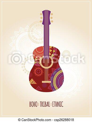Tribal Guitarra Boemio Fundo Etnico Icone Patterned