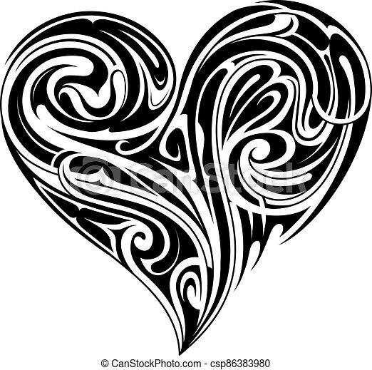 Tribal heart shape tattoo design - csp86383980