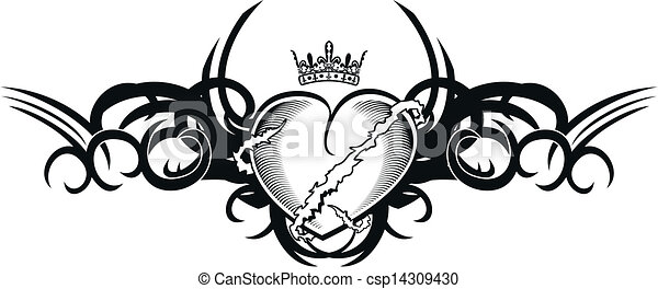 tribal heart tattoo tshirt1 - csp14309430