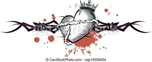 tribal heart tattoo tshirt2 - csp14309434