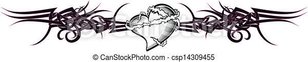 tribal heart tattoo tshirt7 - csp14309455
