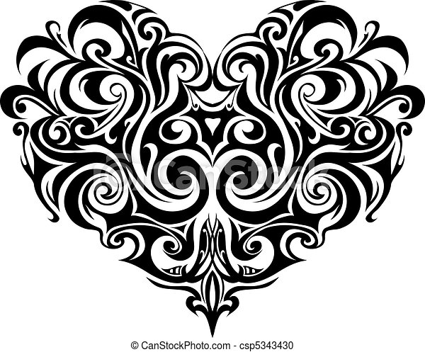 Tribal heart tattoo - csp5343430