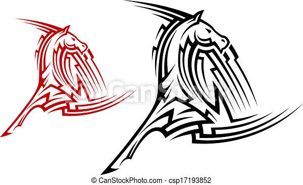 Tribal horse mascot - csp17193852