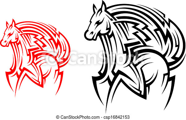 Tribal Horse Tattoo Racing Horse Stallion In Tribal Style For