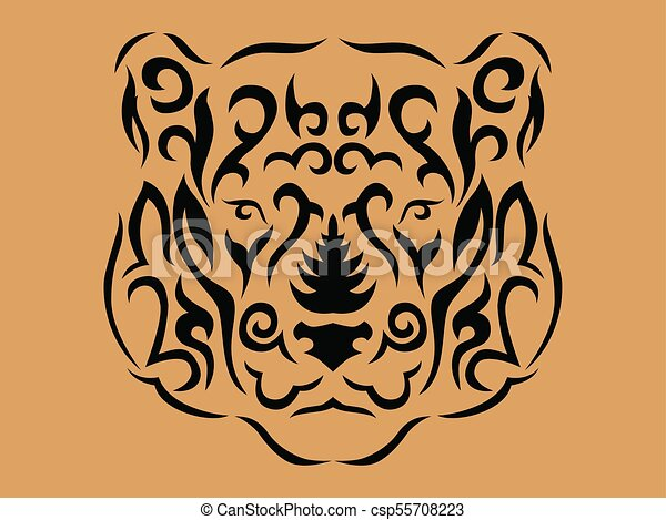 Tribal Ilustracao Pantera Ornamental Marrom Ilustracao
