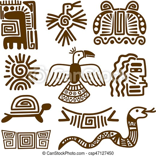 Tribal Indian Patterns Or Mexican Symbols Tribal Indian Patterns Or