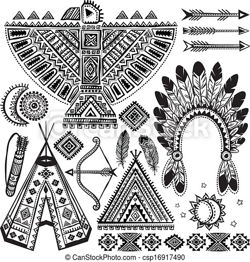 tribal native american set of symbols rh canstockphoto com native american symbols clip art free Native American Feather Clip Art