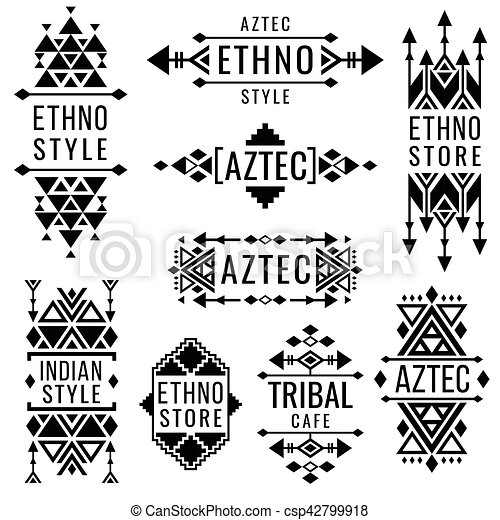 Tribal Old Mexican Vector Ornaments Indian Nativity