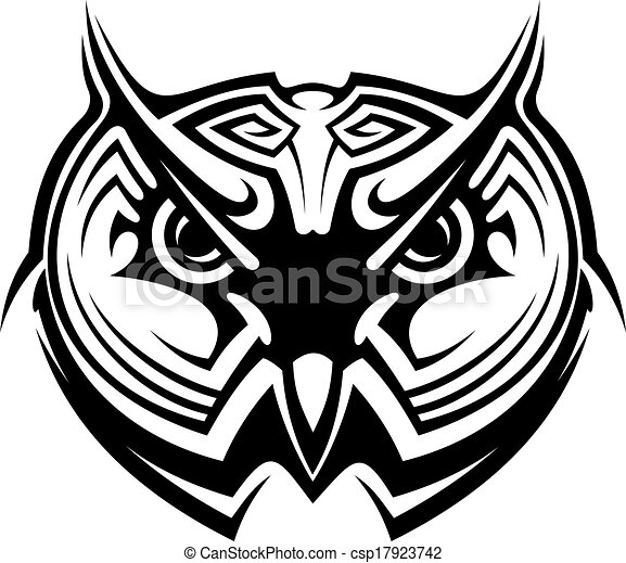 Tribal Owl Tattoo For Mascot Design In Black And White