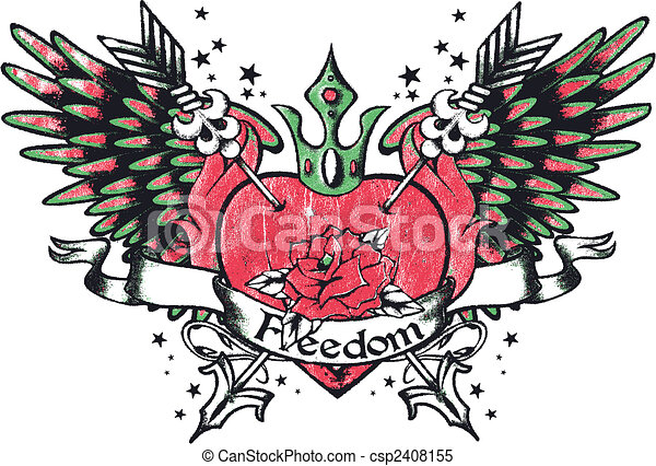 Tribal Royalty Heart With Wing - csp2408155