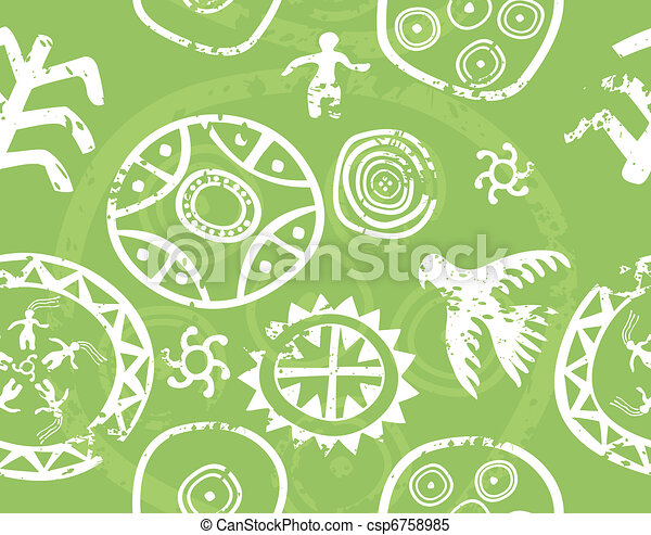 Tribal seamless vector texture - immitation of ancient rock paintings (petroglyph) - csp6758985