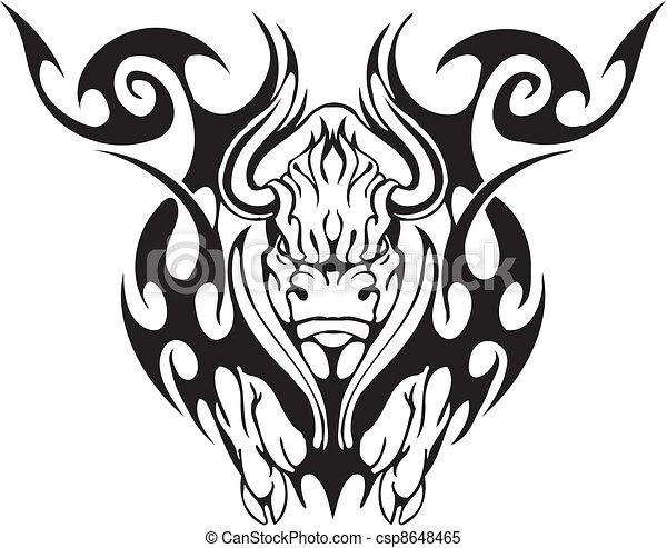 Tribal style taureau style image noir taureau - Dessin de toro ...
