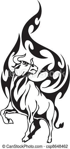 Tribal style taureau style image noir taureau blanc vinyl ready tribal - Dessin tete taureau ...