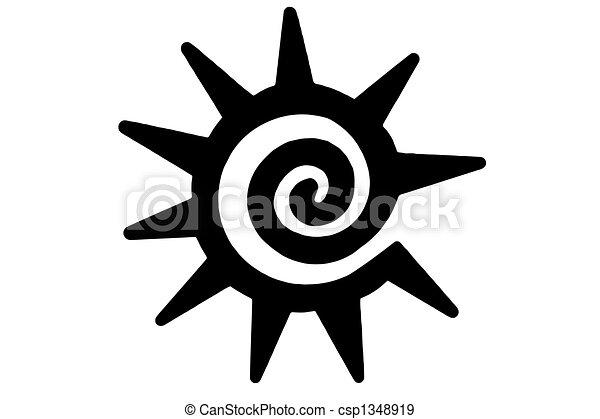 tribal sun tattoo isolated tribal sun on white stock illustration rh canstockphoto com Olive Branch Vector Tribal Wings Black Sun Vector