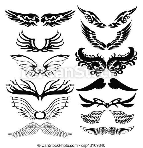 Tribal Tattoo Set Of Wings