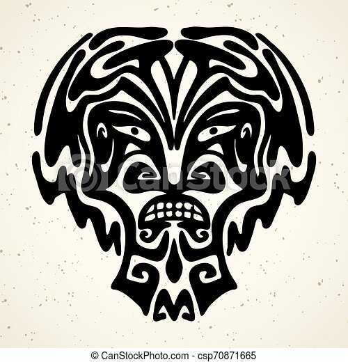 Tribal tattoo with the god mask. Authentic artwork with a symbol of the totem. Vector Graphics clipart Tattoos like Maui - csp70871665