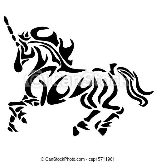 tribal unicorn tattoo - csp15711961